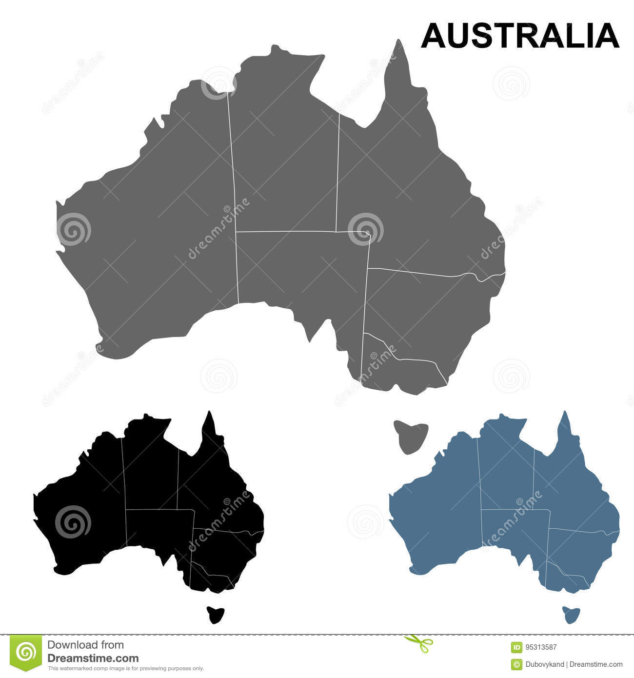 Australia Map Outline Vector.Australia Map Outline Set Stock Vector Illustration Of Monochrome