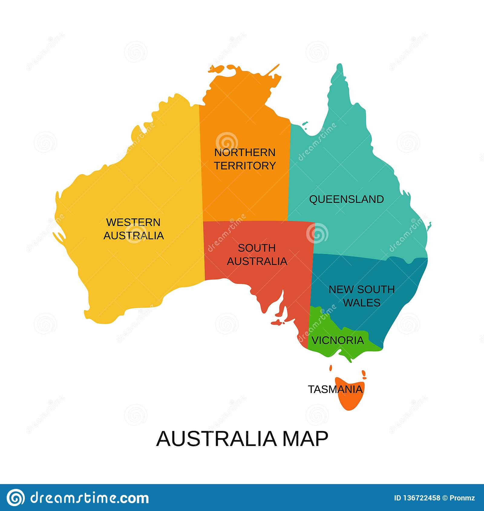 Australian State Map.Australia Map With Regions Vector Illustration Australian State