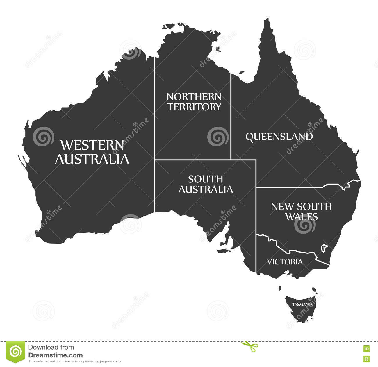 Map Of States Of Australia.Australia Map With States And Labelled Black Stock Illustration
