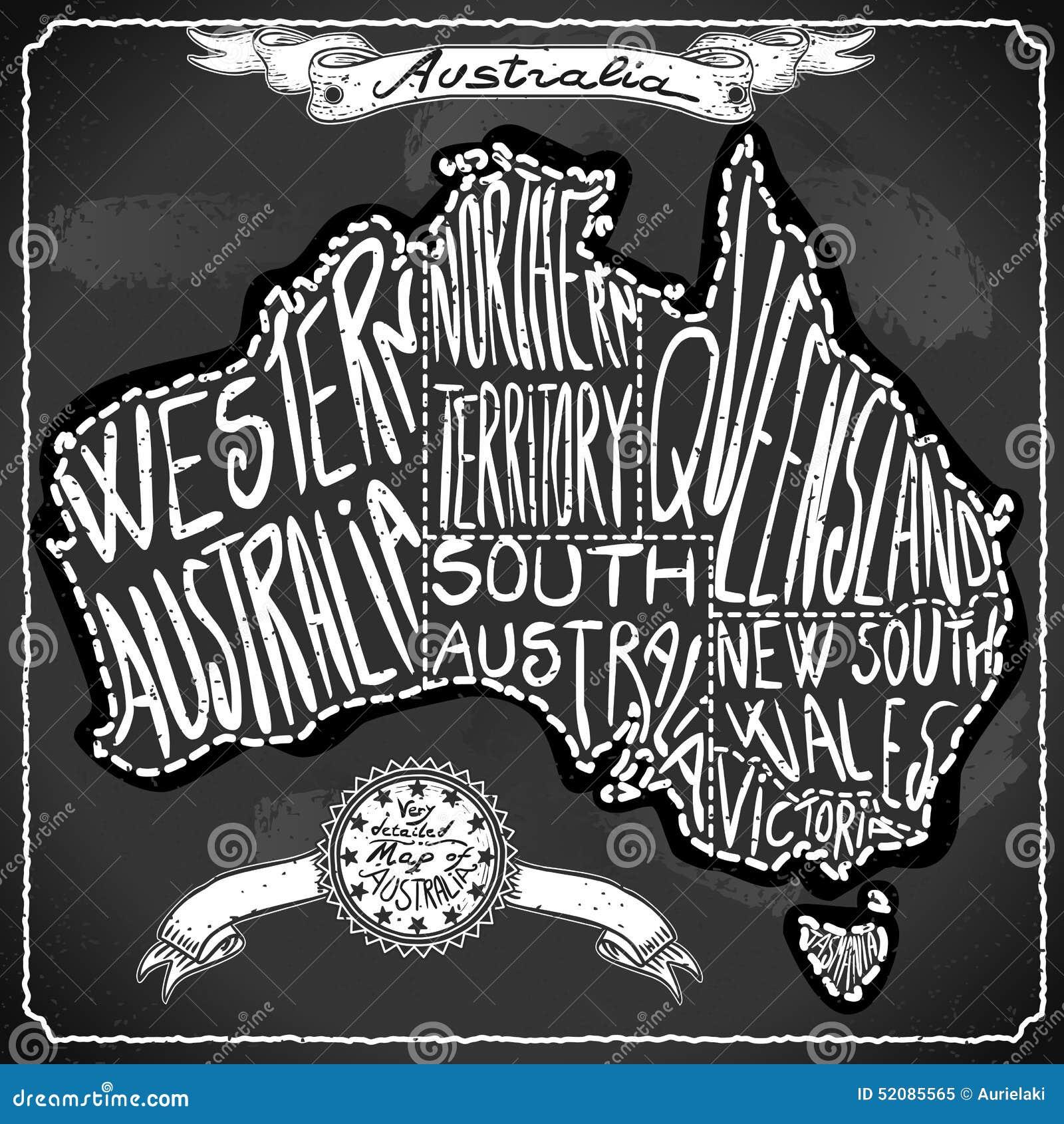 Australia map on vintage handwritten blackboard stock vector australia map on vintage handwritten blackboard gumiabroncs Image collections