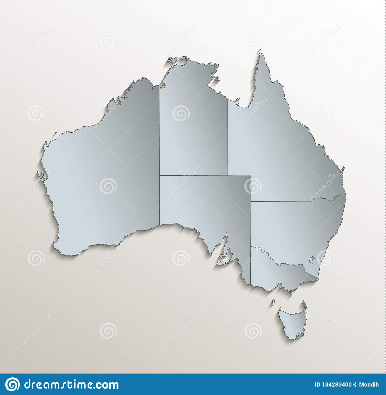 Australia Map Vector With States.Australia Map White Blue Separate Individual States Card Paper 3d