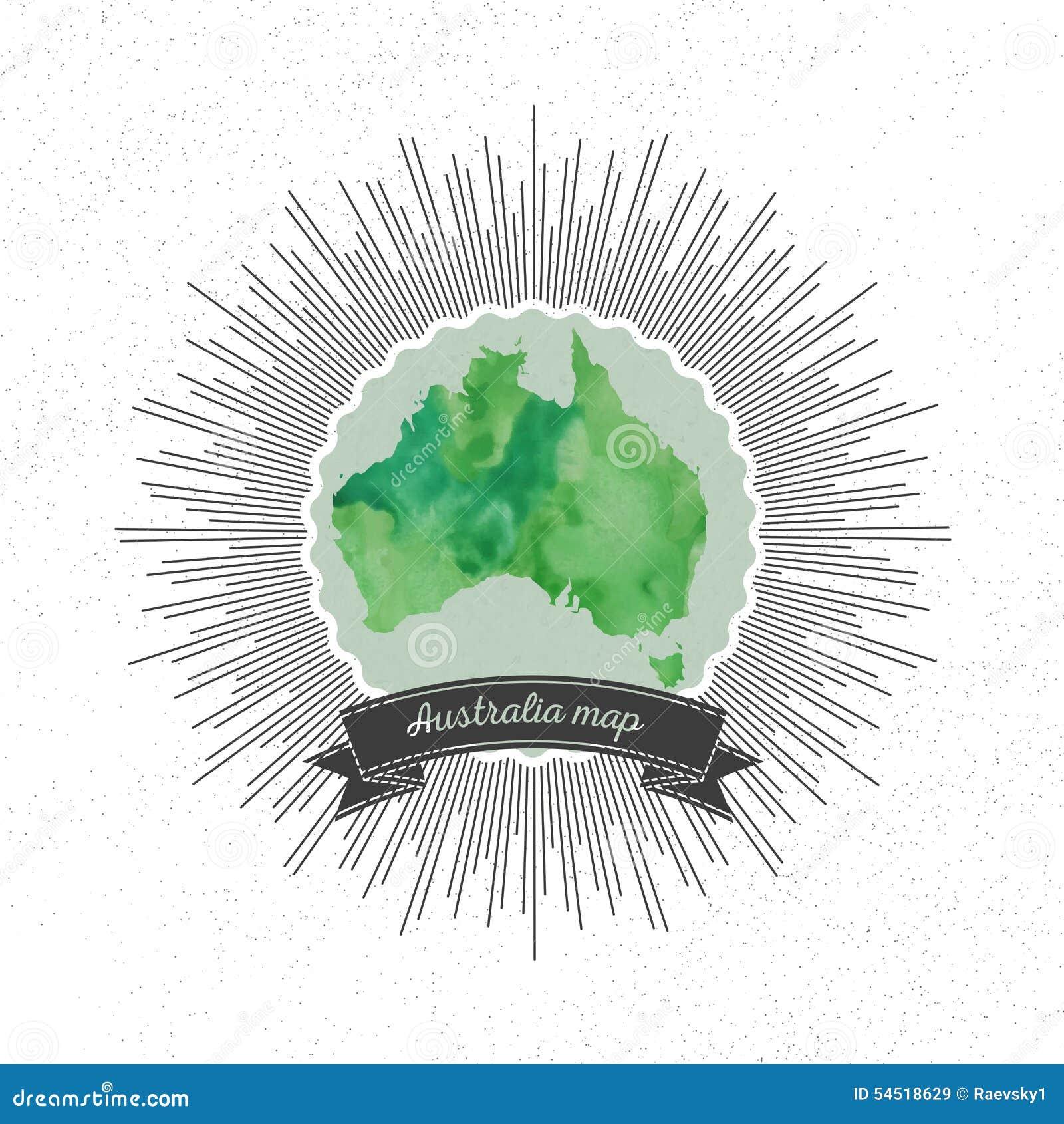 Australia mapa z rocznika stylu gwiazdy wybuchem, zieleń