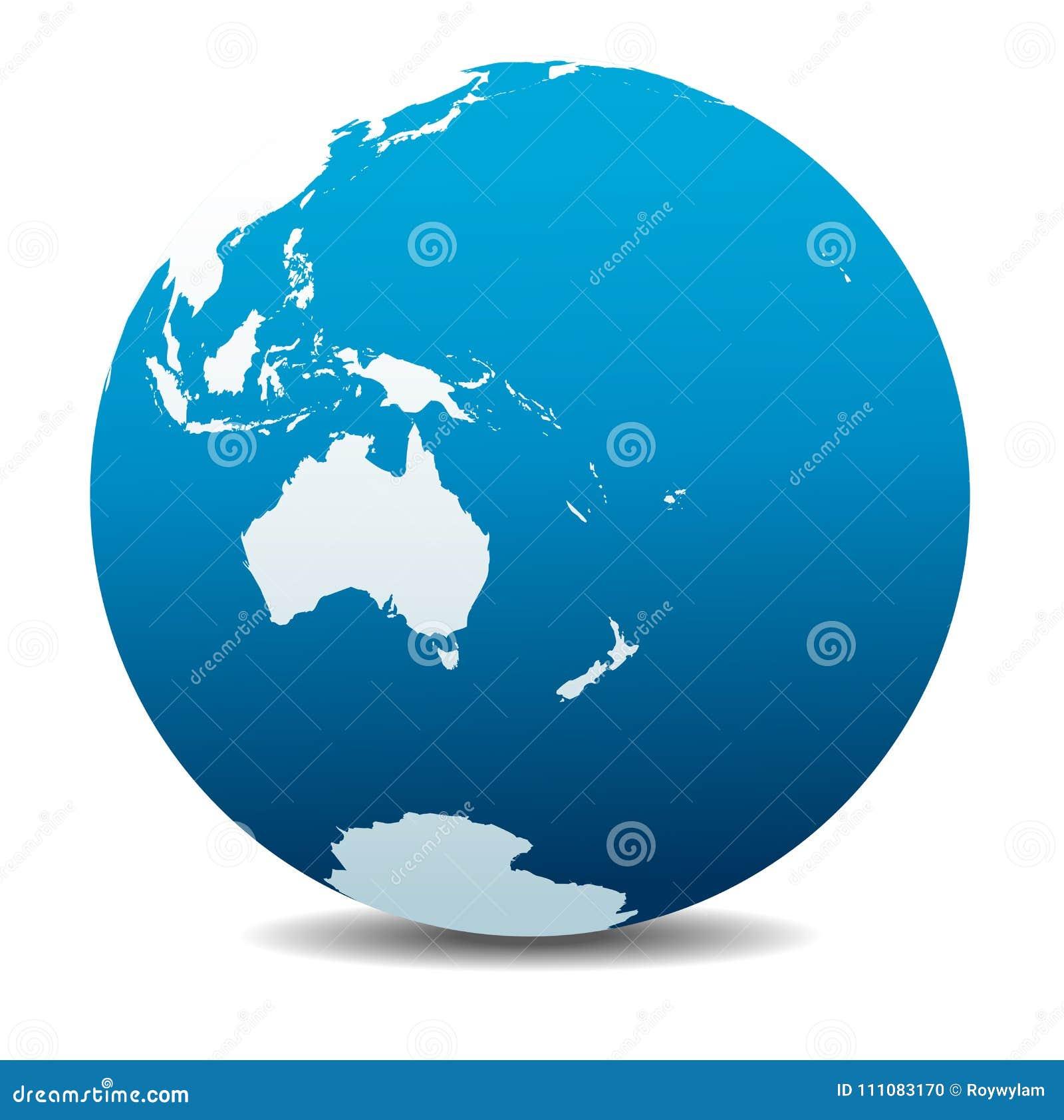 australia and new zealand icon of the world globe