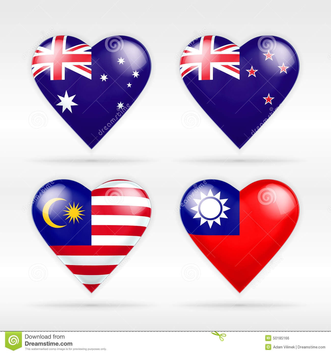 Australia, New Zealand, Malaysia and Taiwan heart flag set of national states