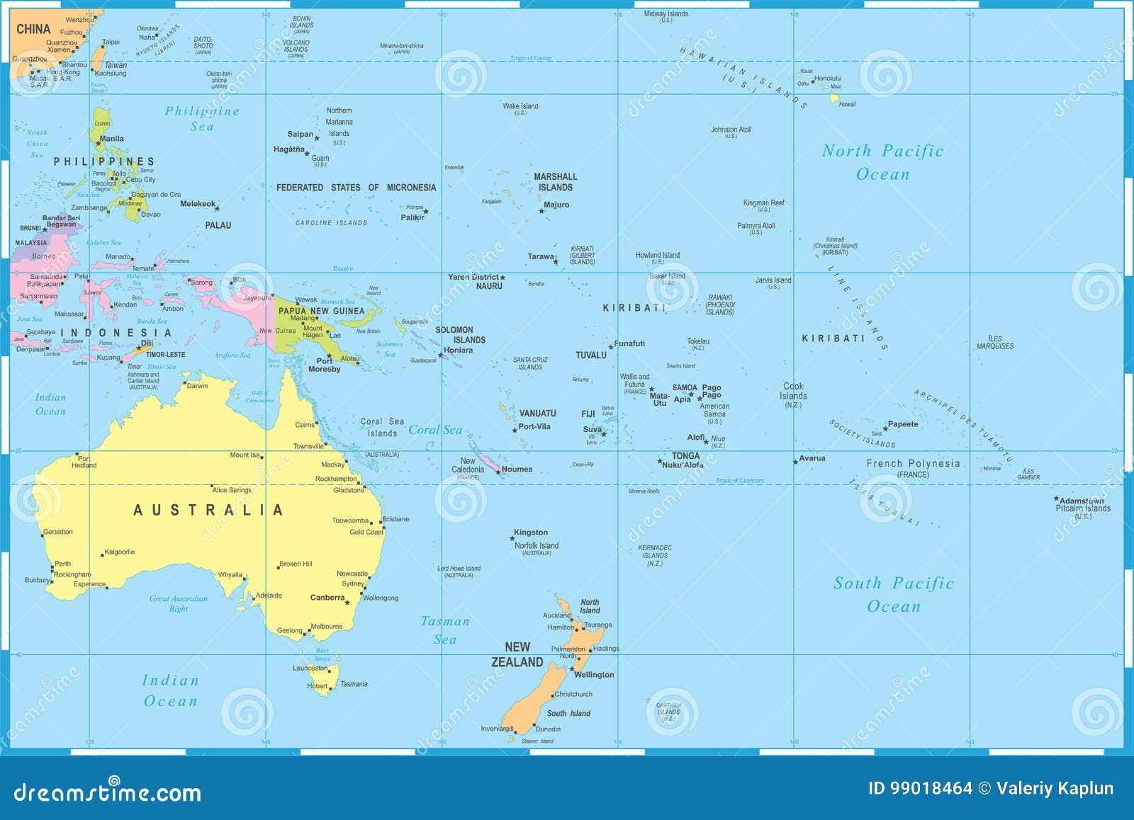 Australia And Oceania Map - Vector Illustration Stock ...