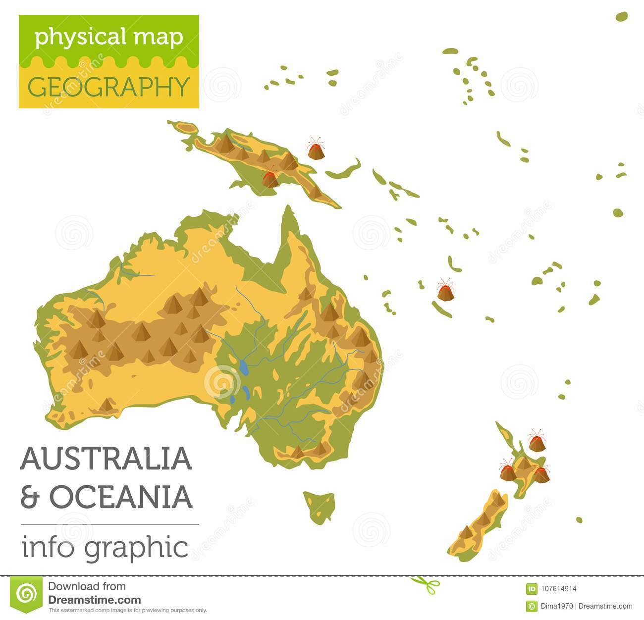 Australia And Oceania Physical Map Elements  Build Your Own