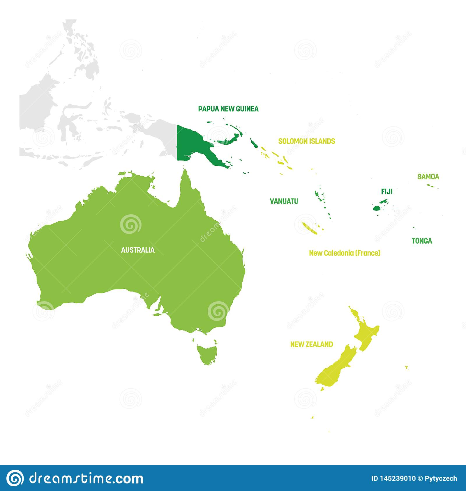 Australia And Oceania Region. Map Of Countries In South Pacific ...