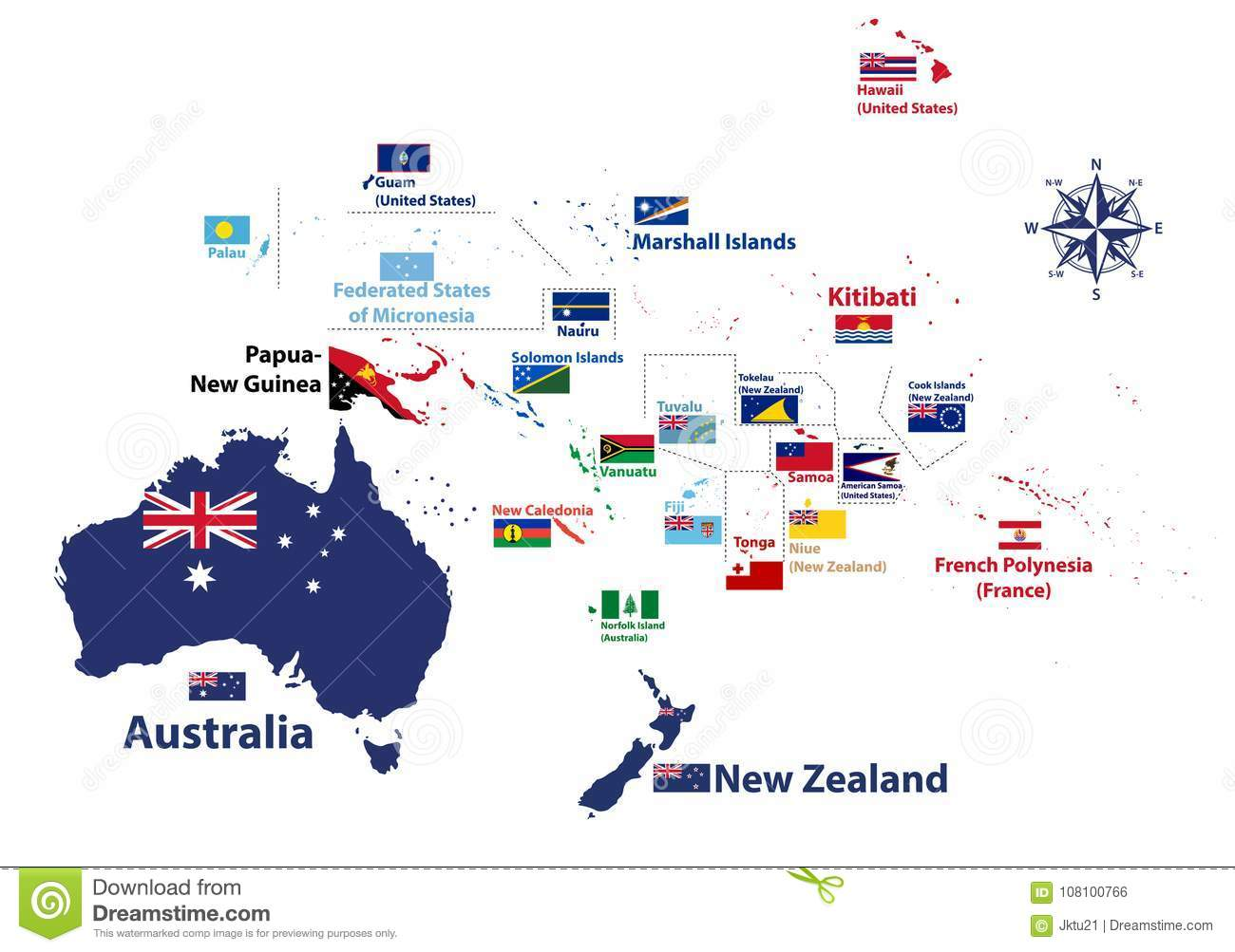 Detailed Map Australia.Australia And Oceania Region Vector High Detailed Map With Countries