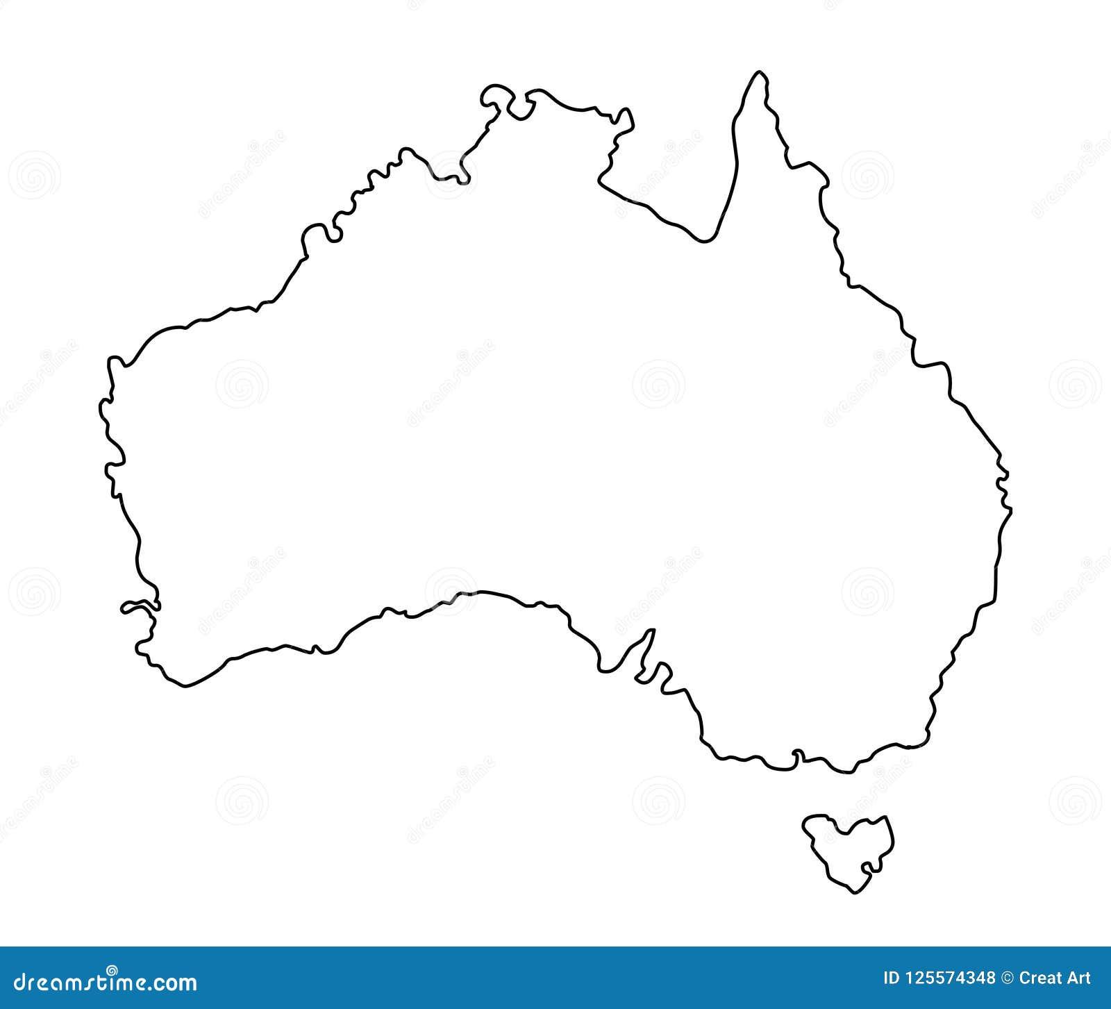 Outline Map Of Australia.Australia Outline Map Vector Illustration Stock Vector