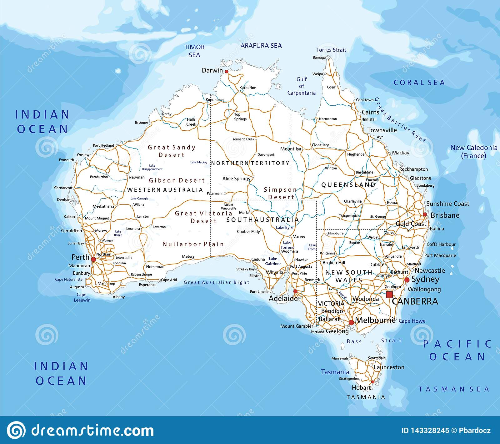 Detailed Map Australia.High Detailed Australia Road Map With Labeling Stock Vector
