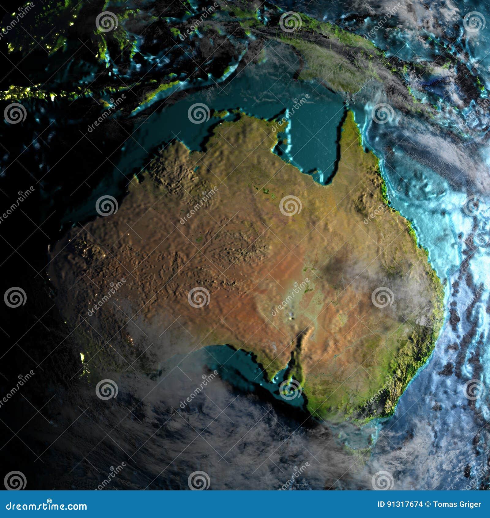 Australia Underwater Map.Australia On Physical Map In The Morning Stock Illustration