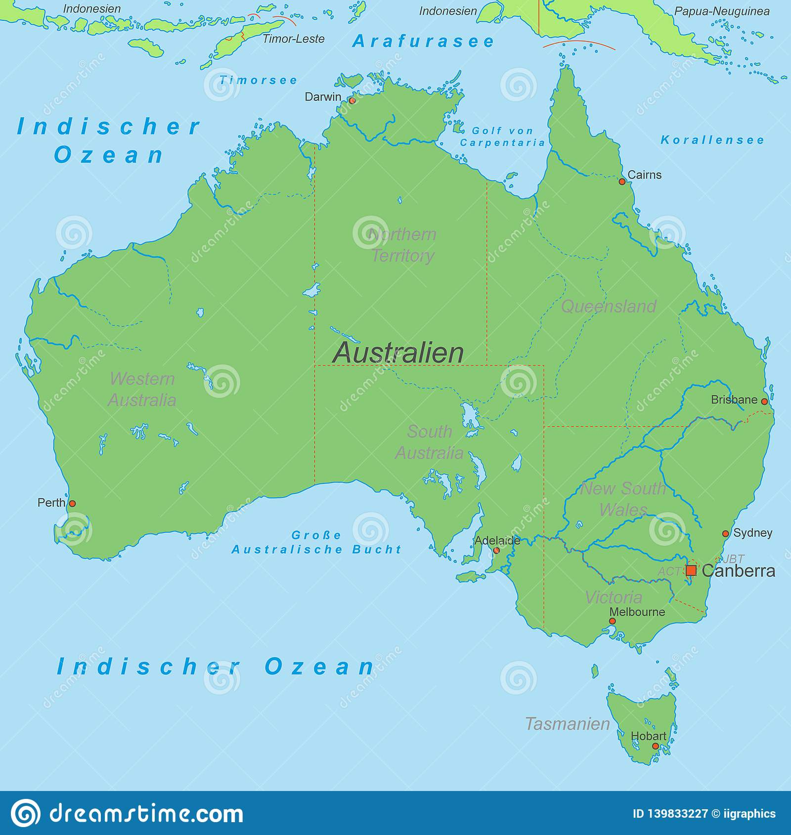 Australia - Political Map Of Australia Stock Vector ...
