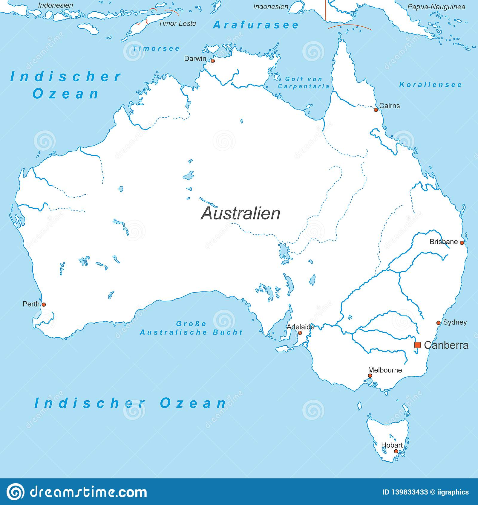 Australia Map Political.Australia Political Map Of Australia Stock Illustration