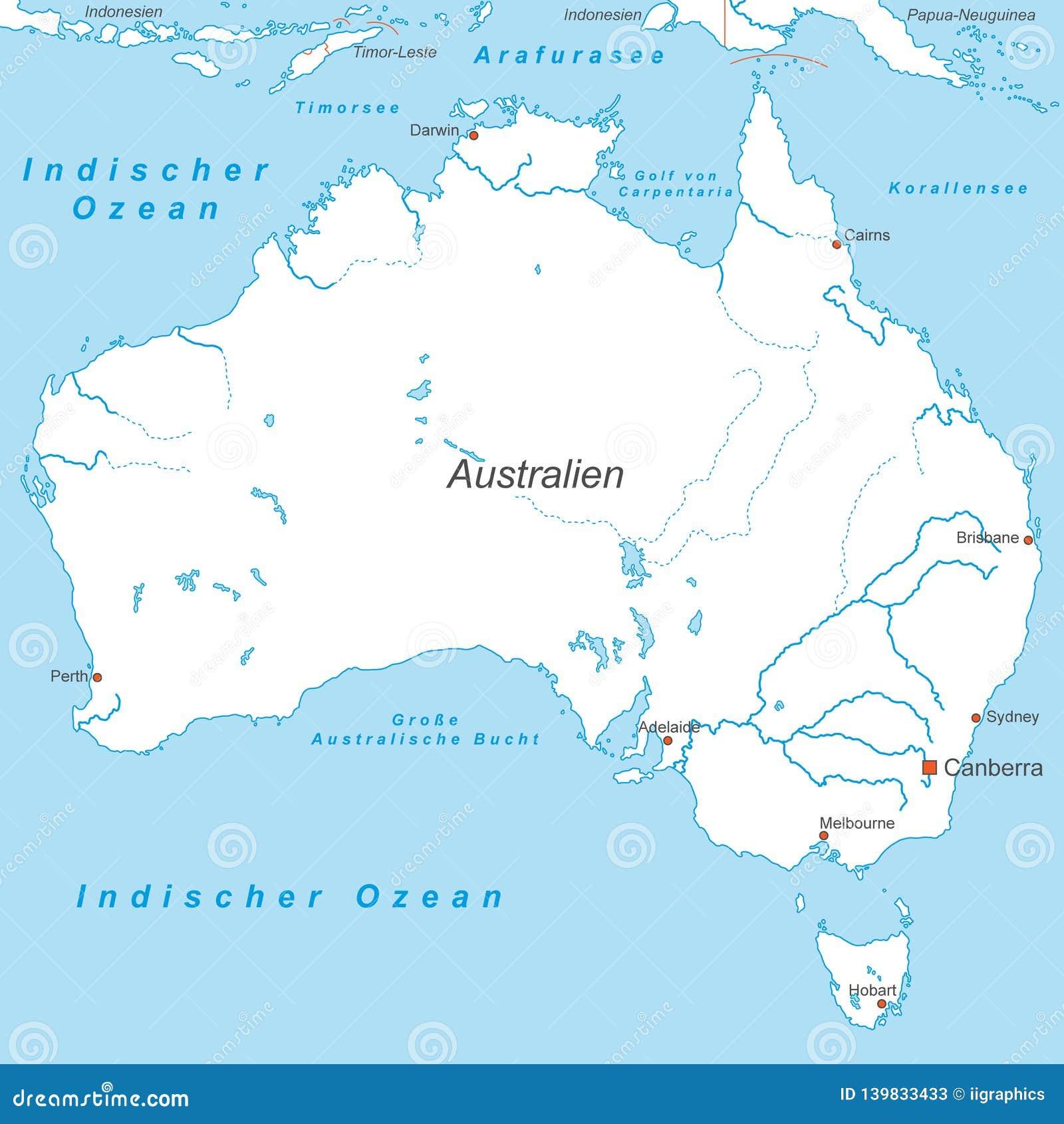 Australia Political Map Of Australia Stock Illustration
