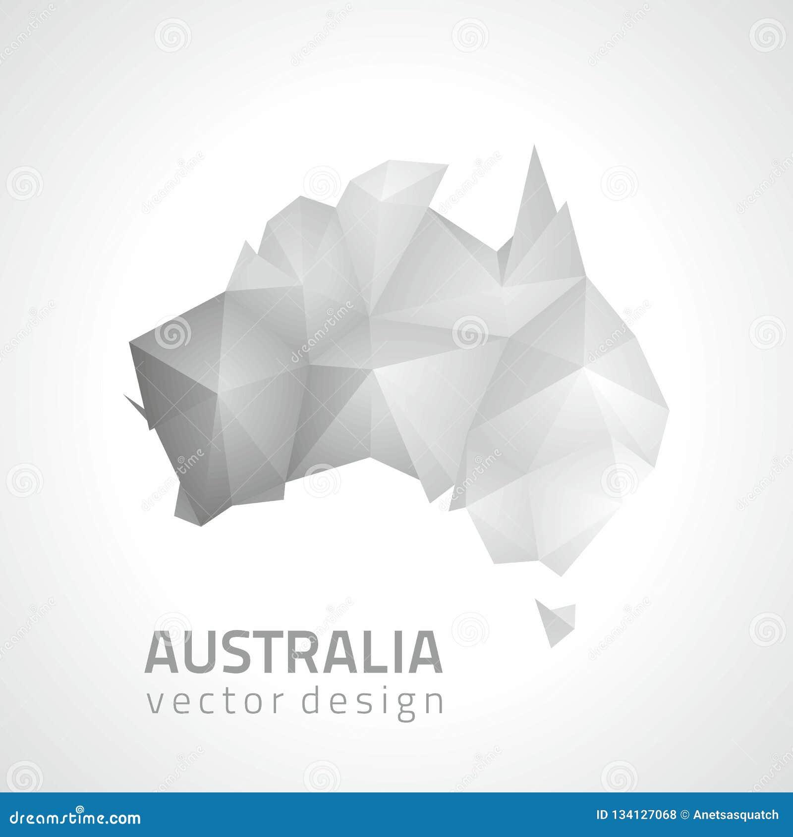 Australia Map Grey.Australia Polygonal Triangle Grey And Silver Vector Map Stock Vector