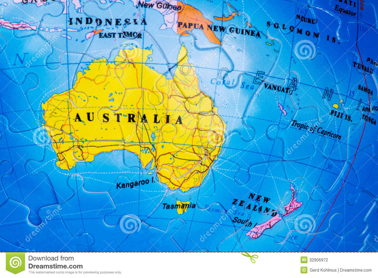 Map Of Australia Tasmania And New Zealand.Australia Puzzle Stock Photo Image Of Down South Zealand 32906972
