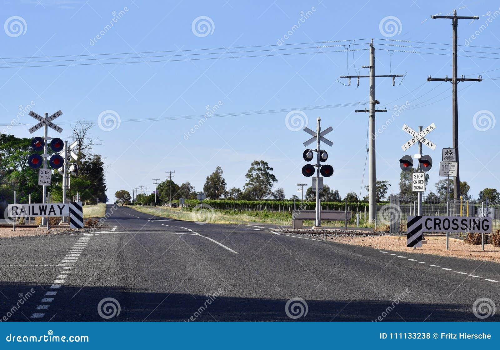 Australia, Railway Crossing Stock Photo - Image of railroad