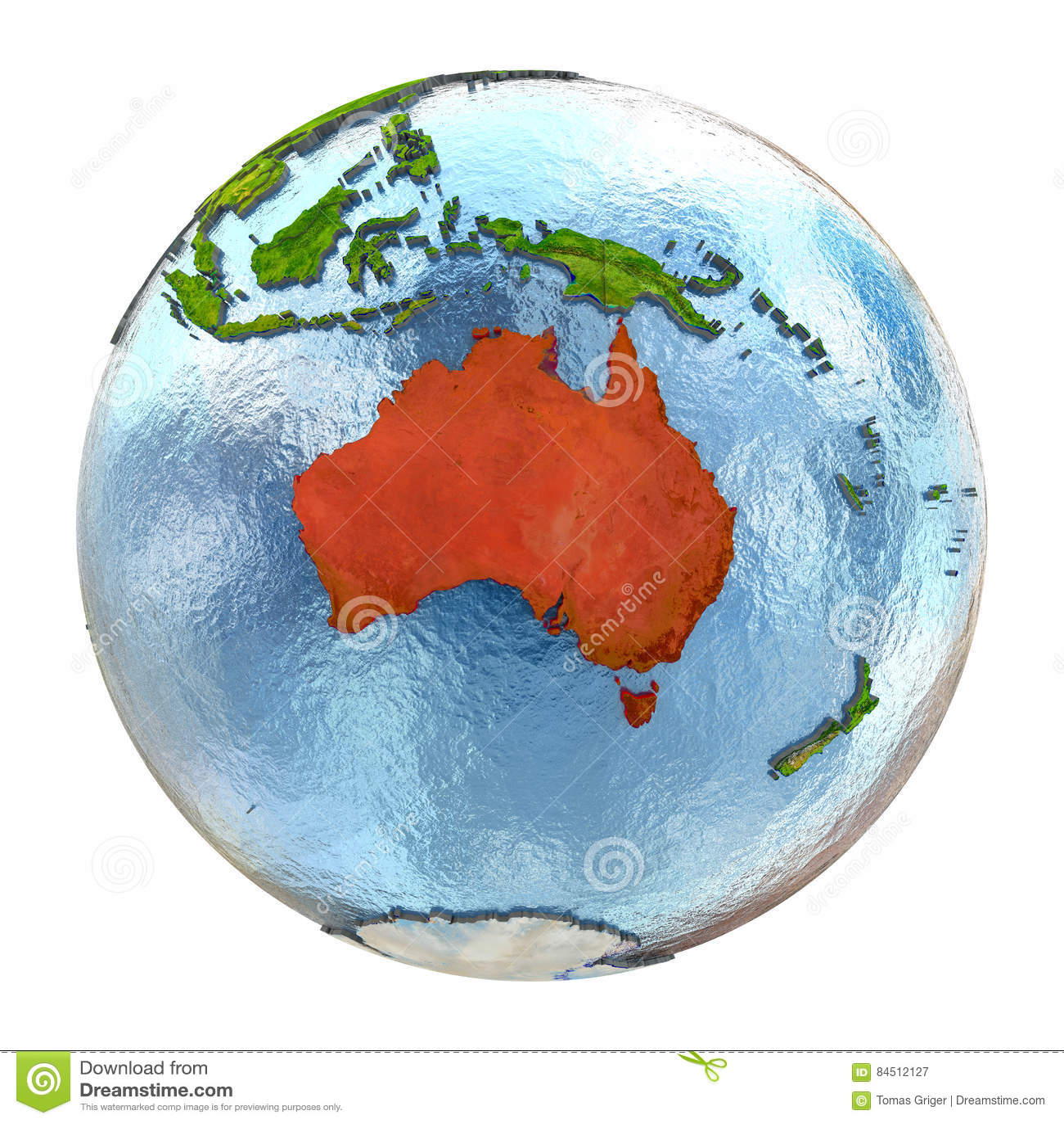 Full Earth Map.Australia In Red On Full Earth Stock Illustration Illustration Of