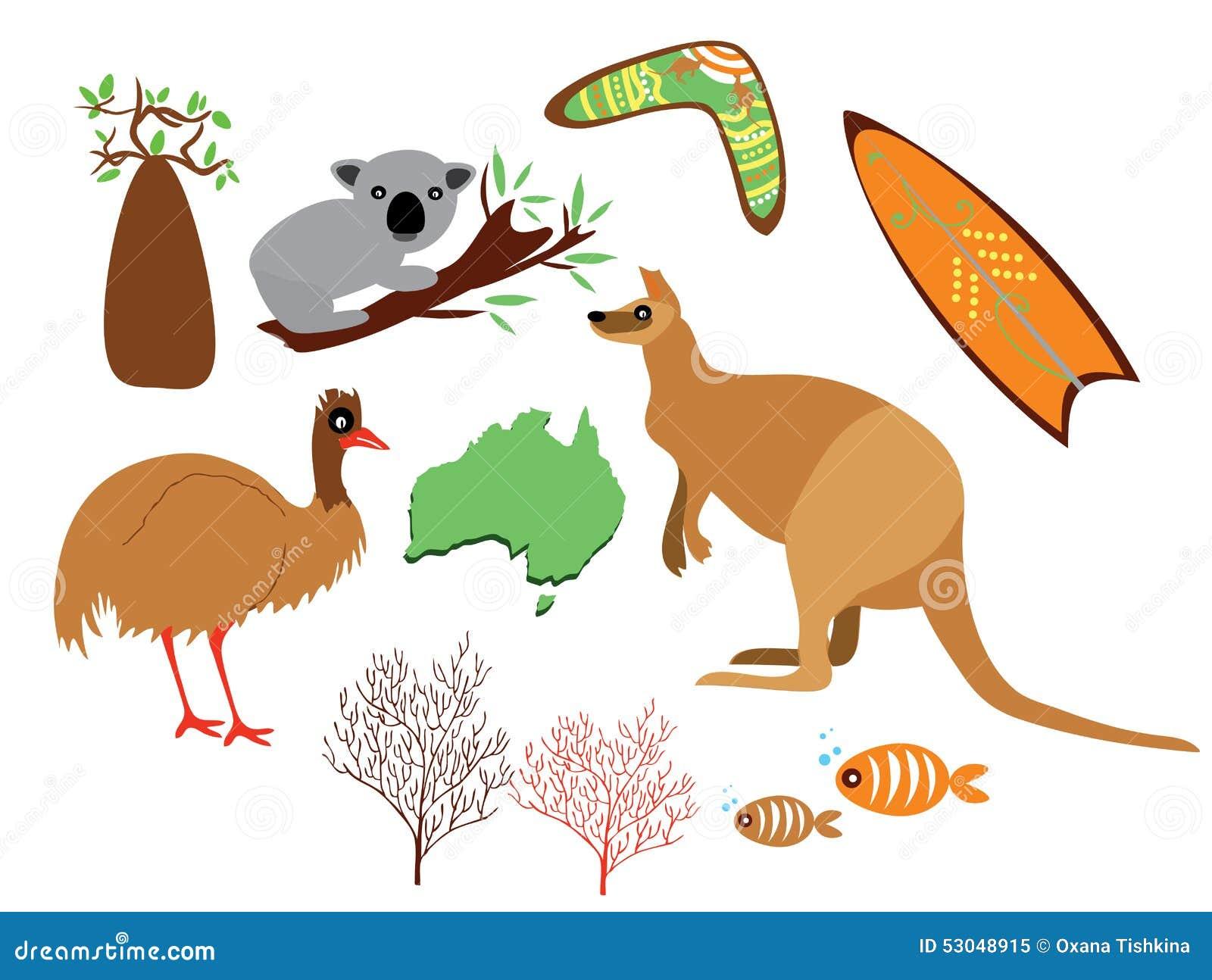 Australia Set Stock Vector Illustration Of Card Decor 53048915