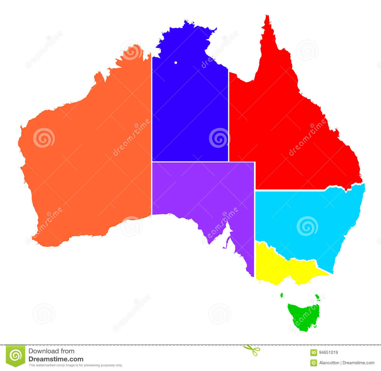 Australia Map And States.Australia States In Colour Silhouette Stock Vector Illustration Of