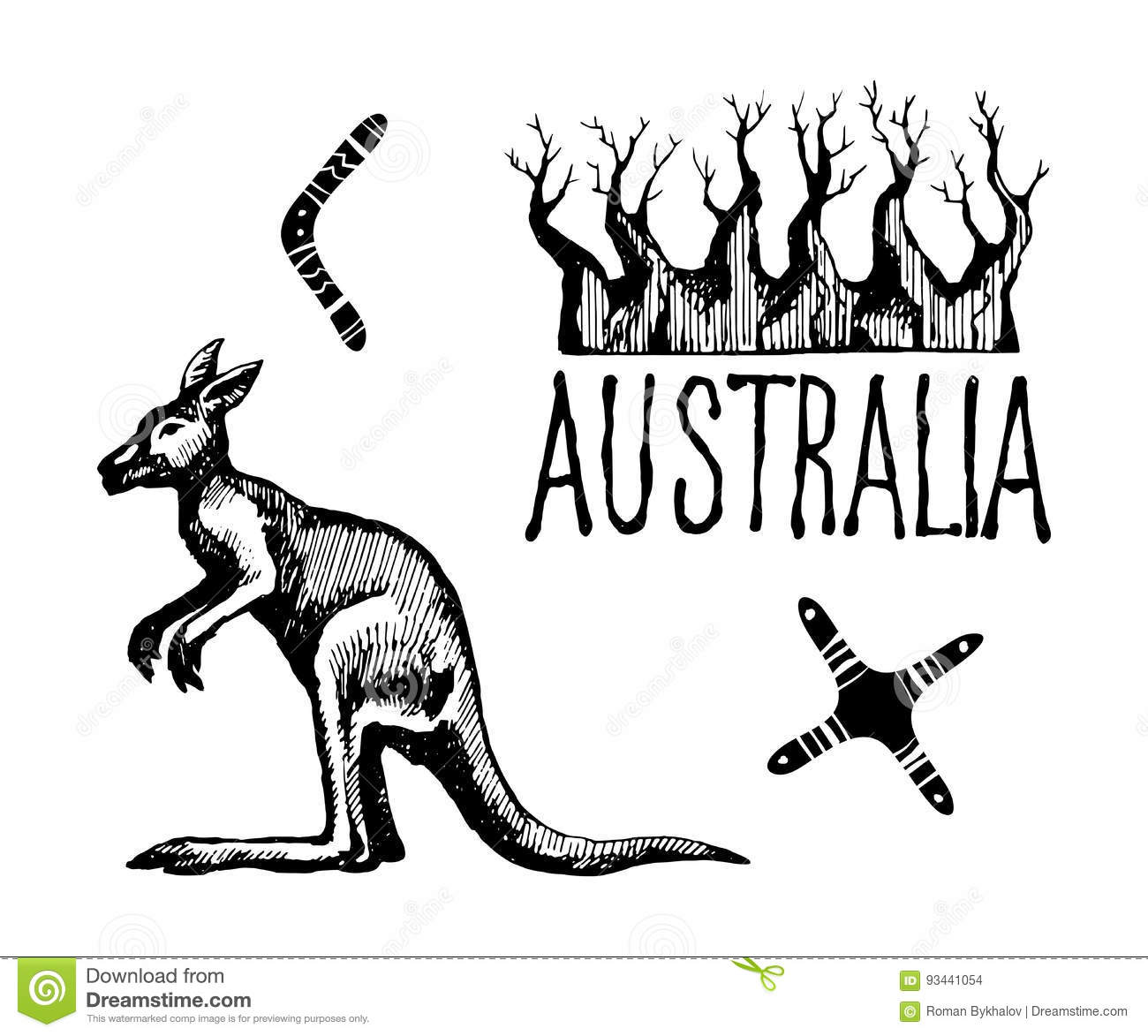 Australia Symbols And Signs Stock Vector Illustration Of Drawn