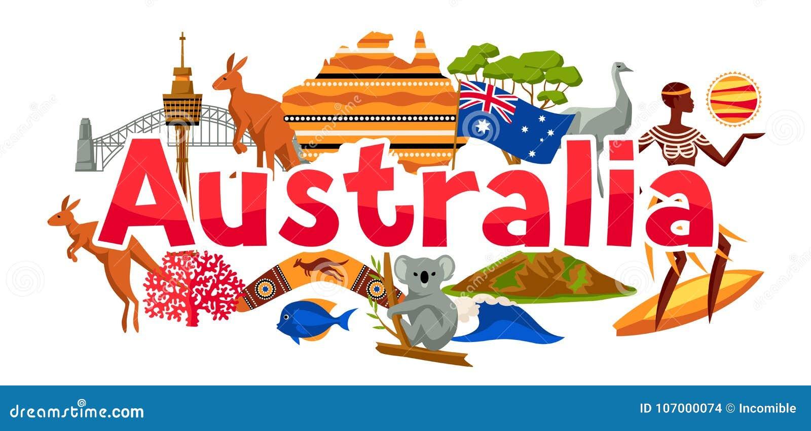 Australia sztandaru projekt Australijscy tradycyjni symbole i przedmioty