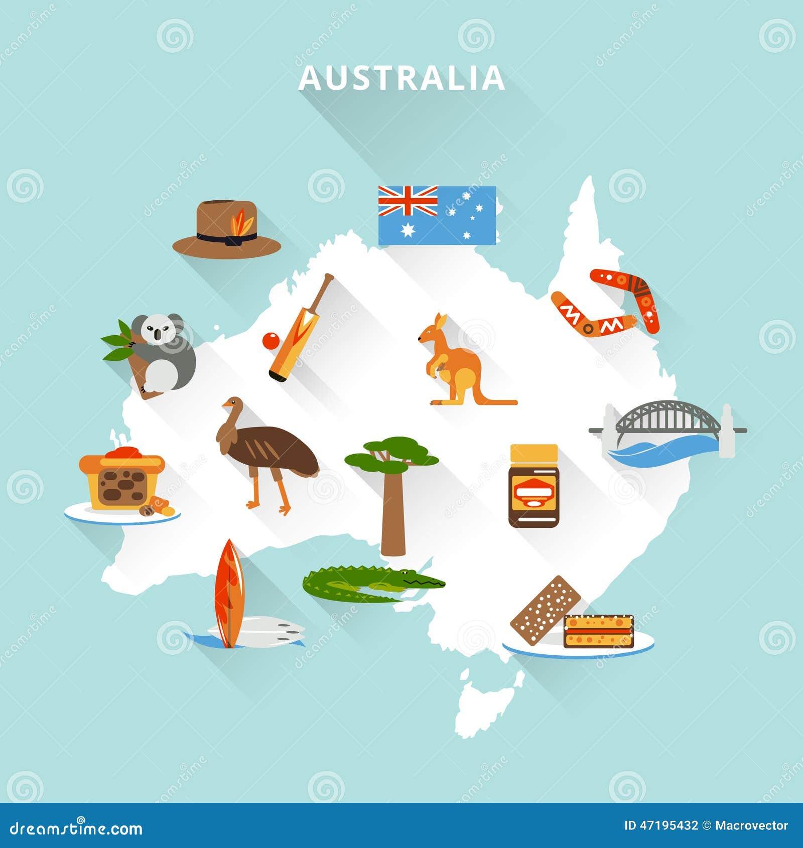 Australia Tourist Map Vector Image 47195432 – Travel Map of Australia