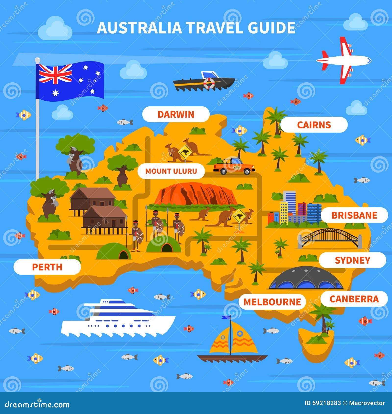 australia travel guide illustration stock illustration illustration 69218283. Black Bedroom Furniture Sets. Home Design Ideas