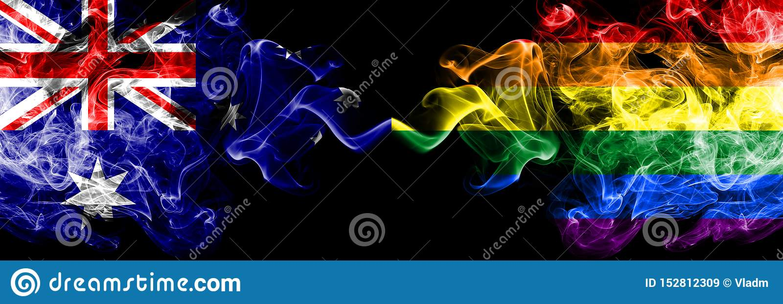 Australia vs Gay pride smoky mystic flags placed side by side. Thick colored silky smokes combination of national flags of