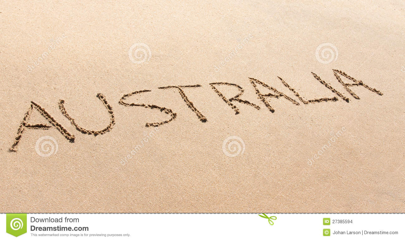 Australia Written In The Sand On A Beach Stock Images