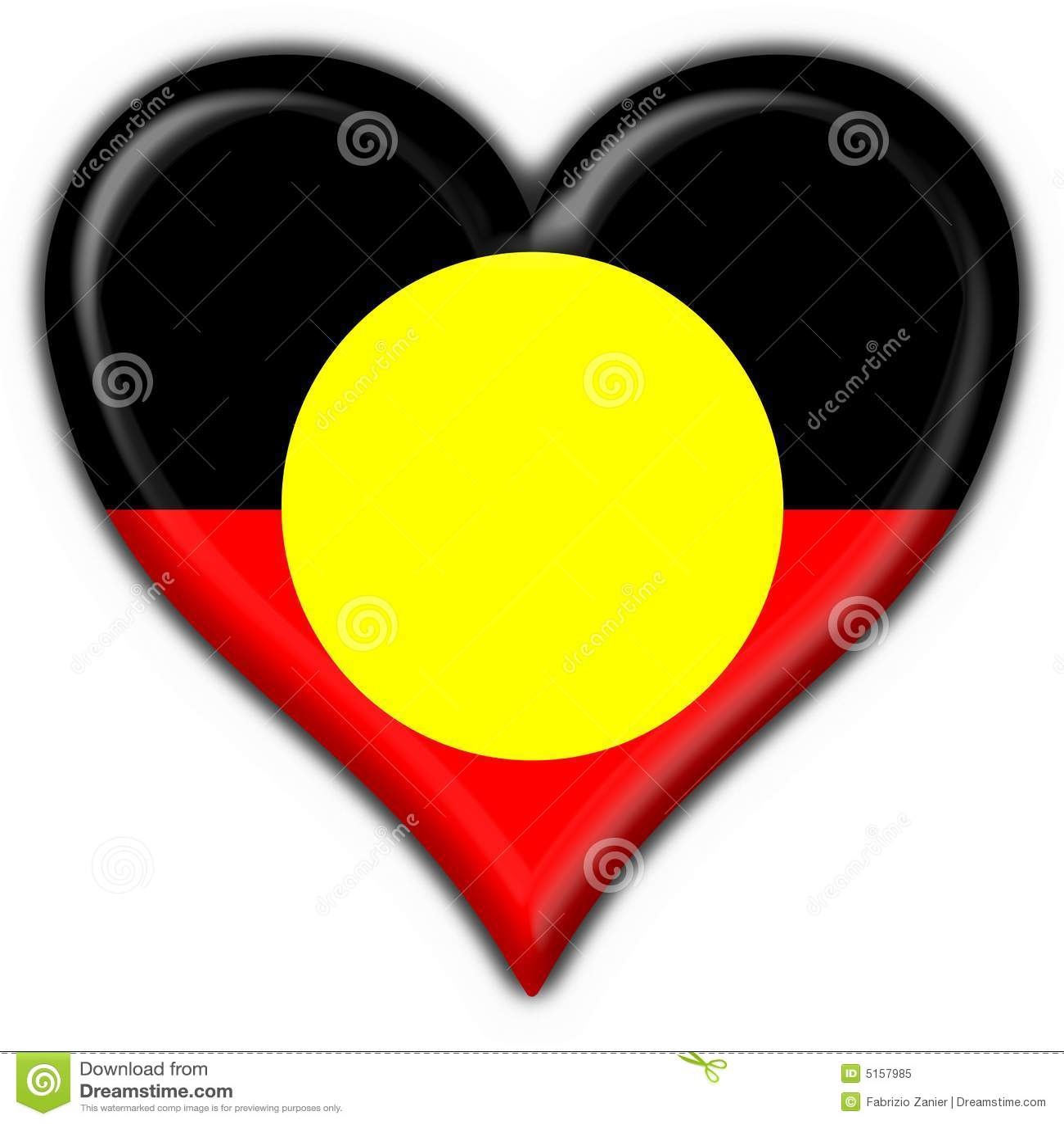 Australian Aboriginal Button Flag Heart Shape Stock Illustration