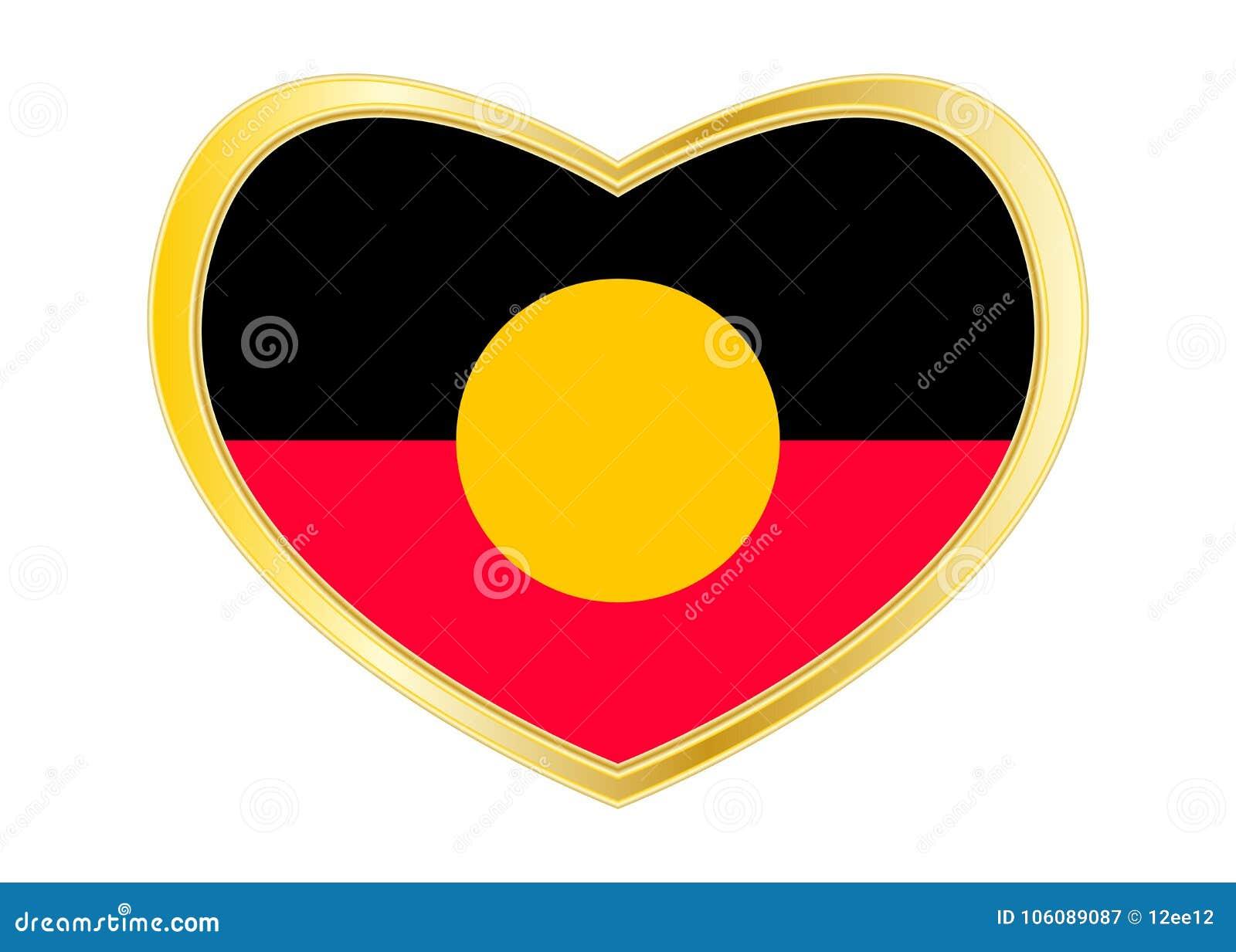 Australian aboriginal flag in heart shape golden stock vector australian aboriginal flag in heart shape golden buycottarizona Gallery