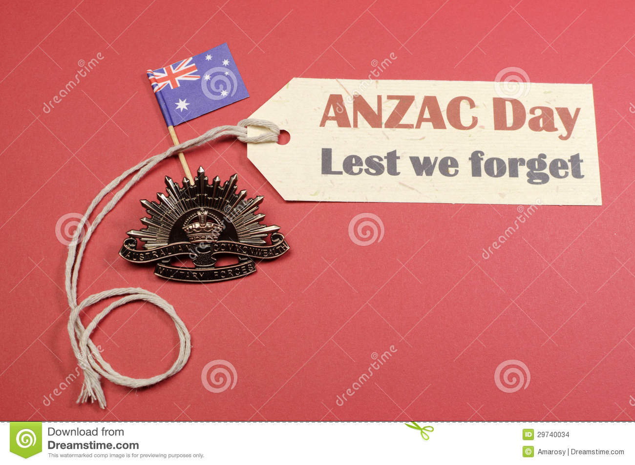 Australian ANZAC Day WW1 Rising Sun Hat Badge with flag and Lest We Forget message