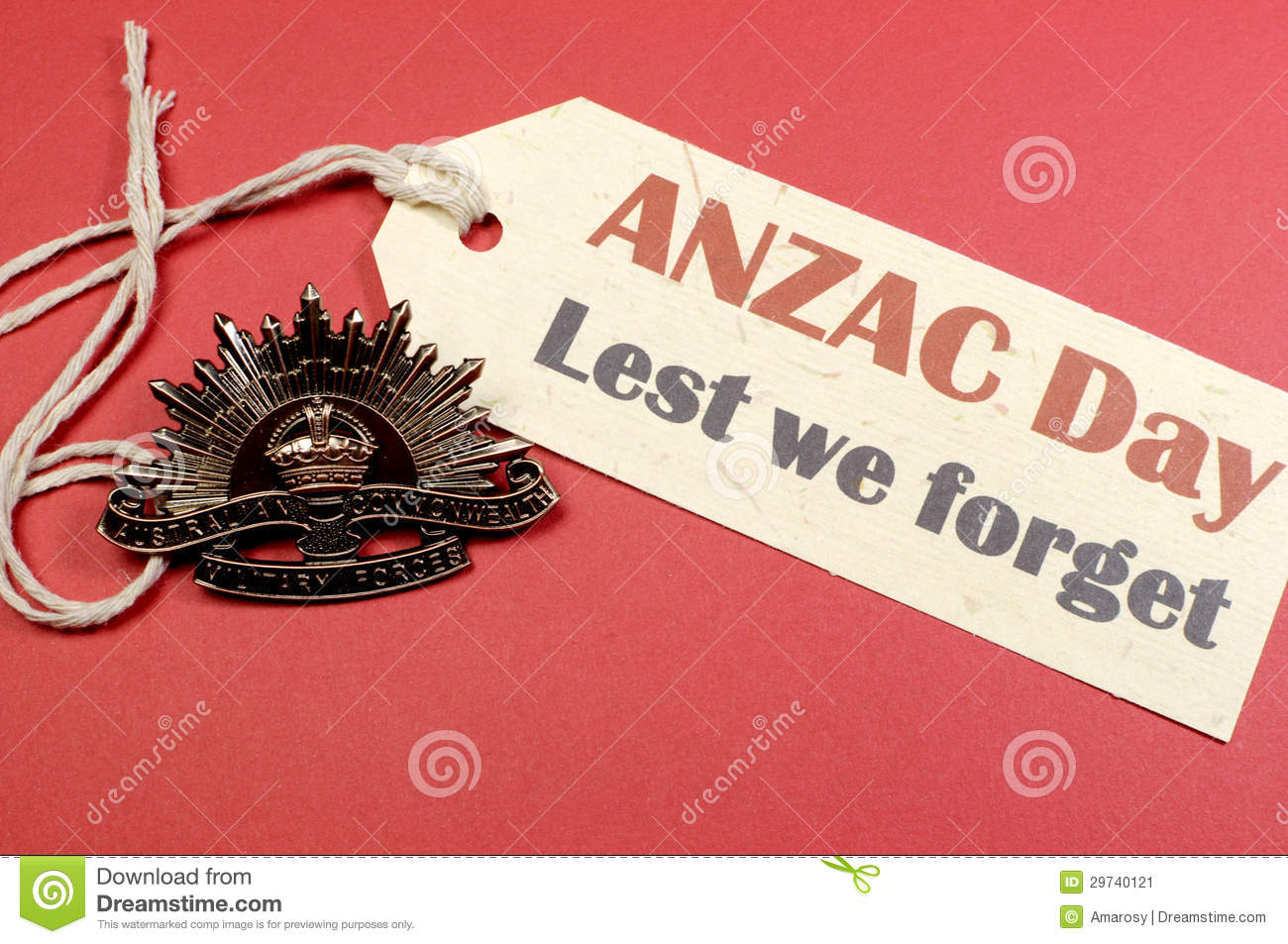 Australian ANZAC Day WW1 Rising Sun Hat Badge with Lest We Forget message