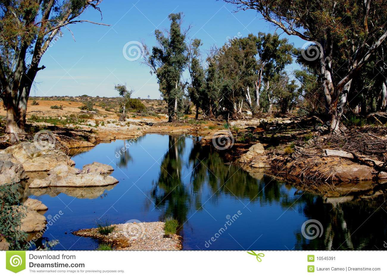 The permanent waterhole at Death Rock in the Flinders Ranges, South ...