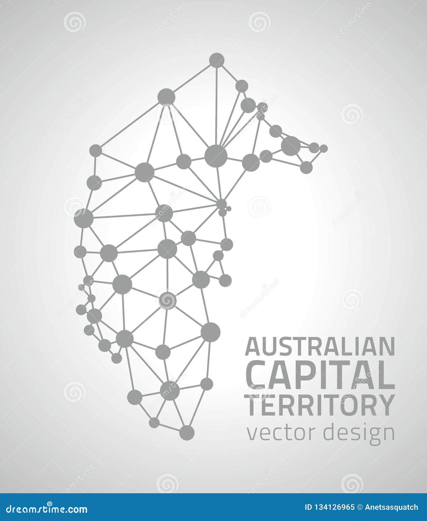 Australian Capital Territory grey dot outline vector triangle map