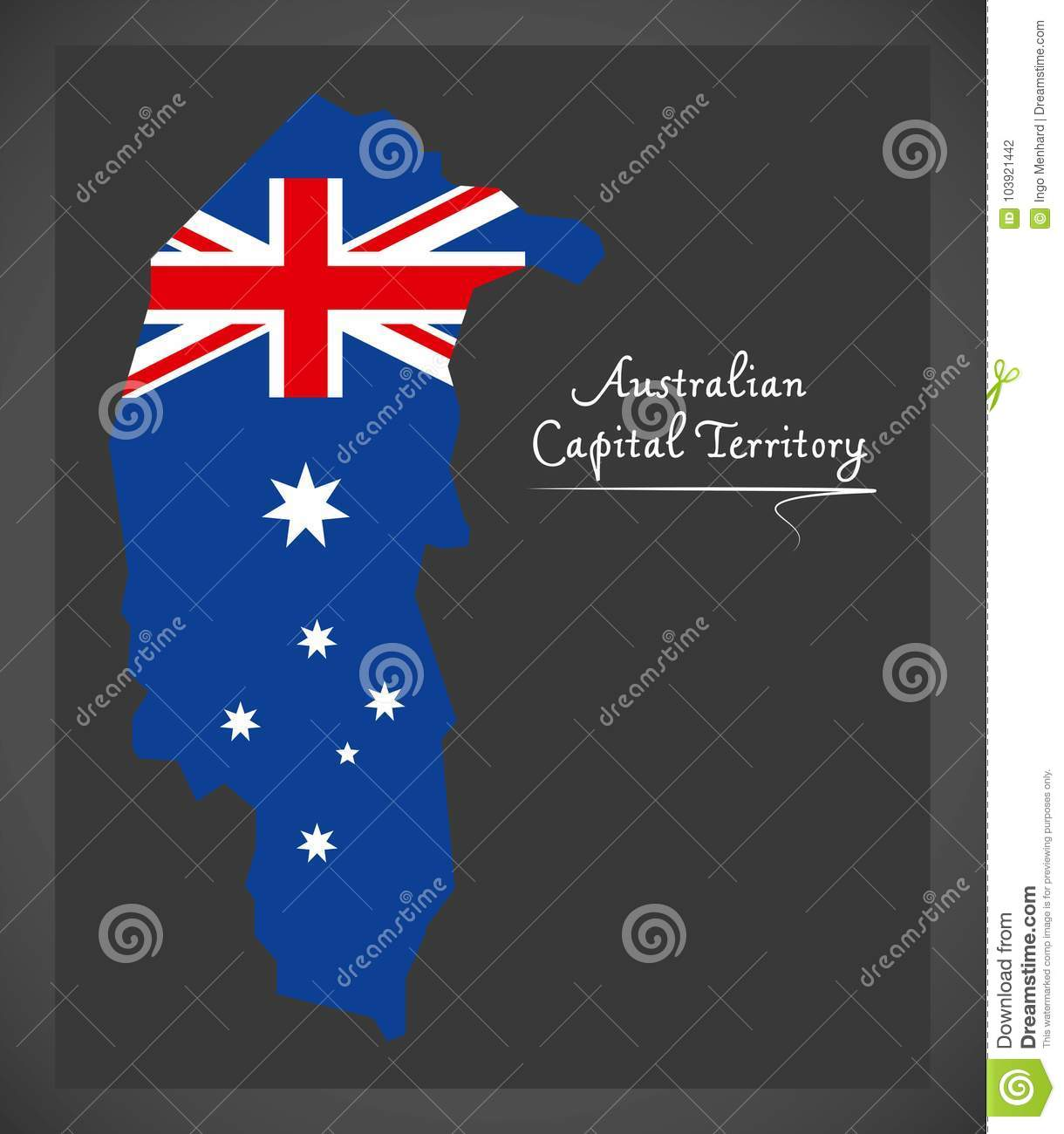 Australian Capital Territory map with national flag illustration
