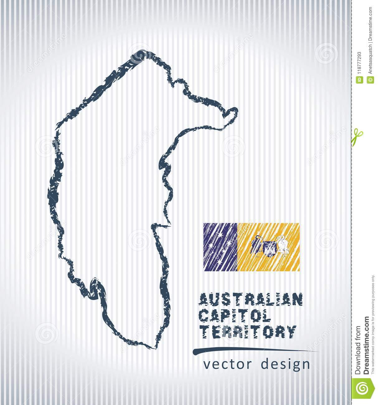 Australian Capital Territory vector chalk drawing map isolated on a white background