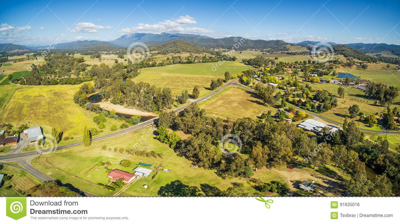 Australian countryside - meadows, pastures, and hills aerial pan