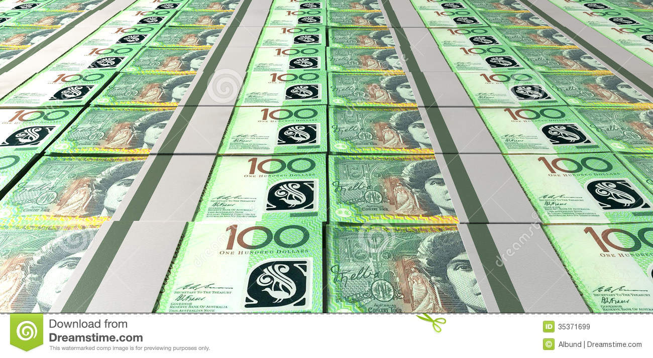 Australian Dollar Bill Bundles Laid Out Royalty Free Stock ...