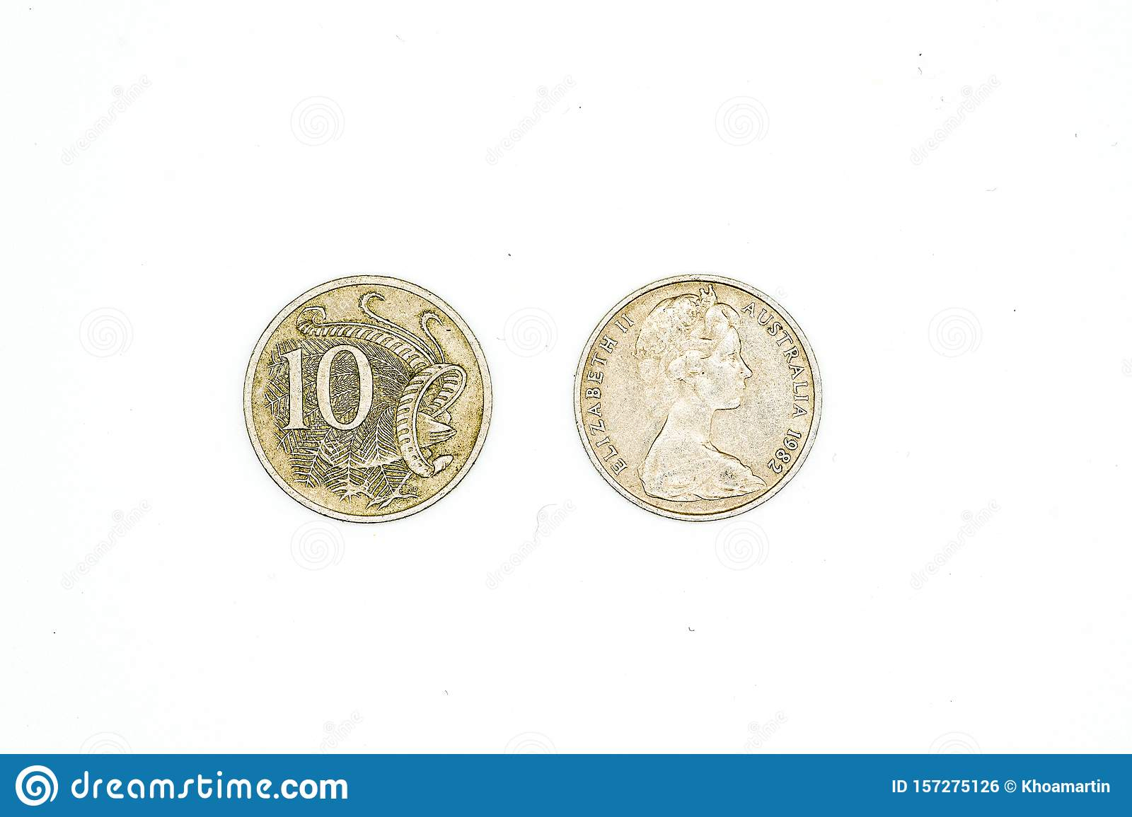 Australian dollar coins isolated on white background. 10 cent