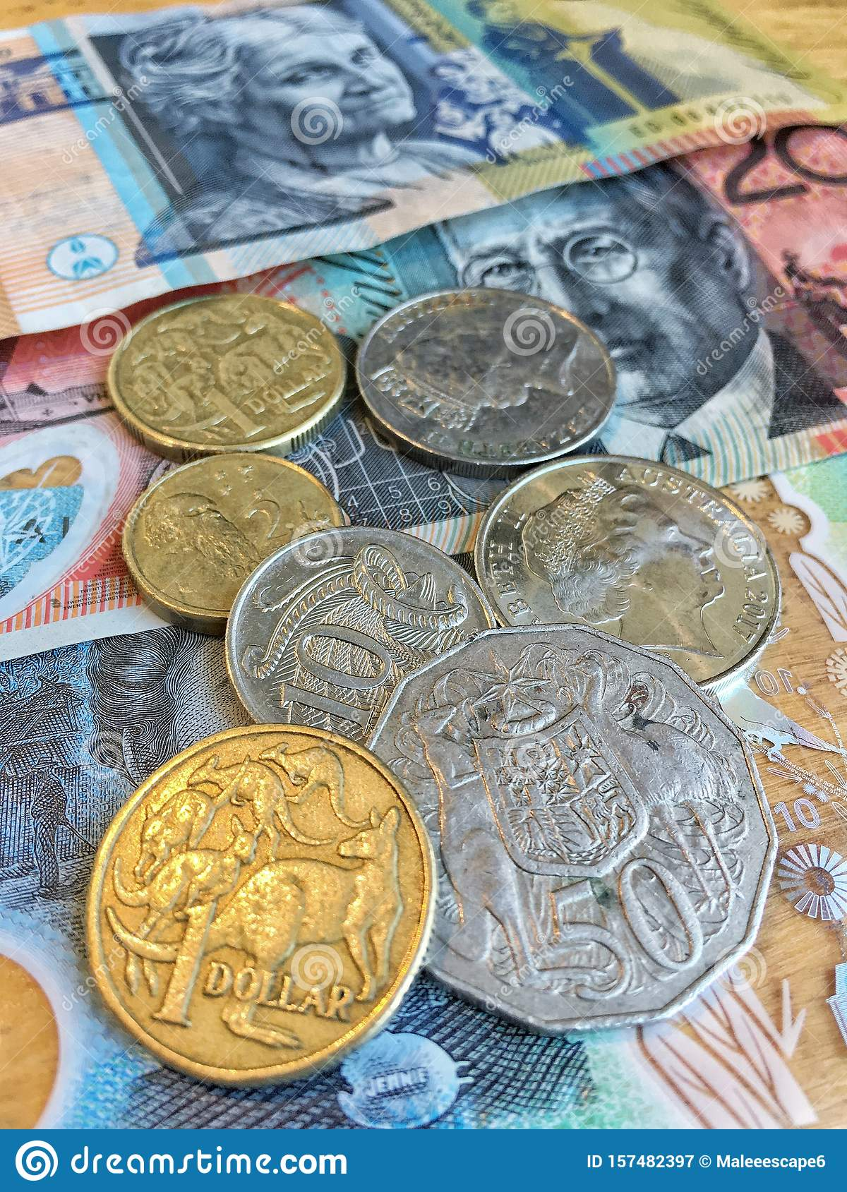 Australian Dollars AUD bank notes and coins background