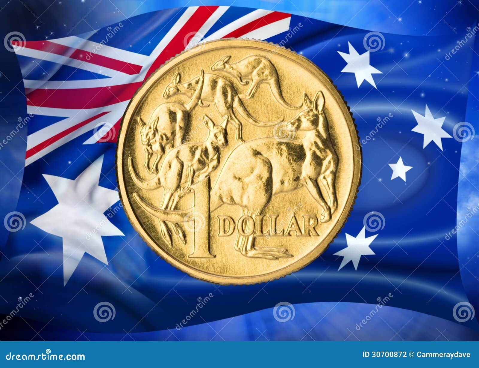 Australian Flag Dollar Coin Money Stock Photography