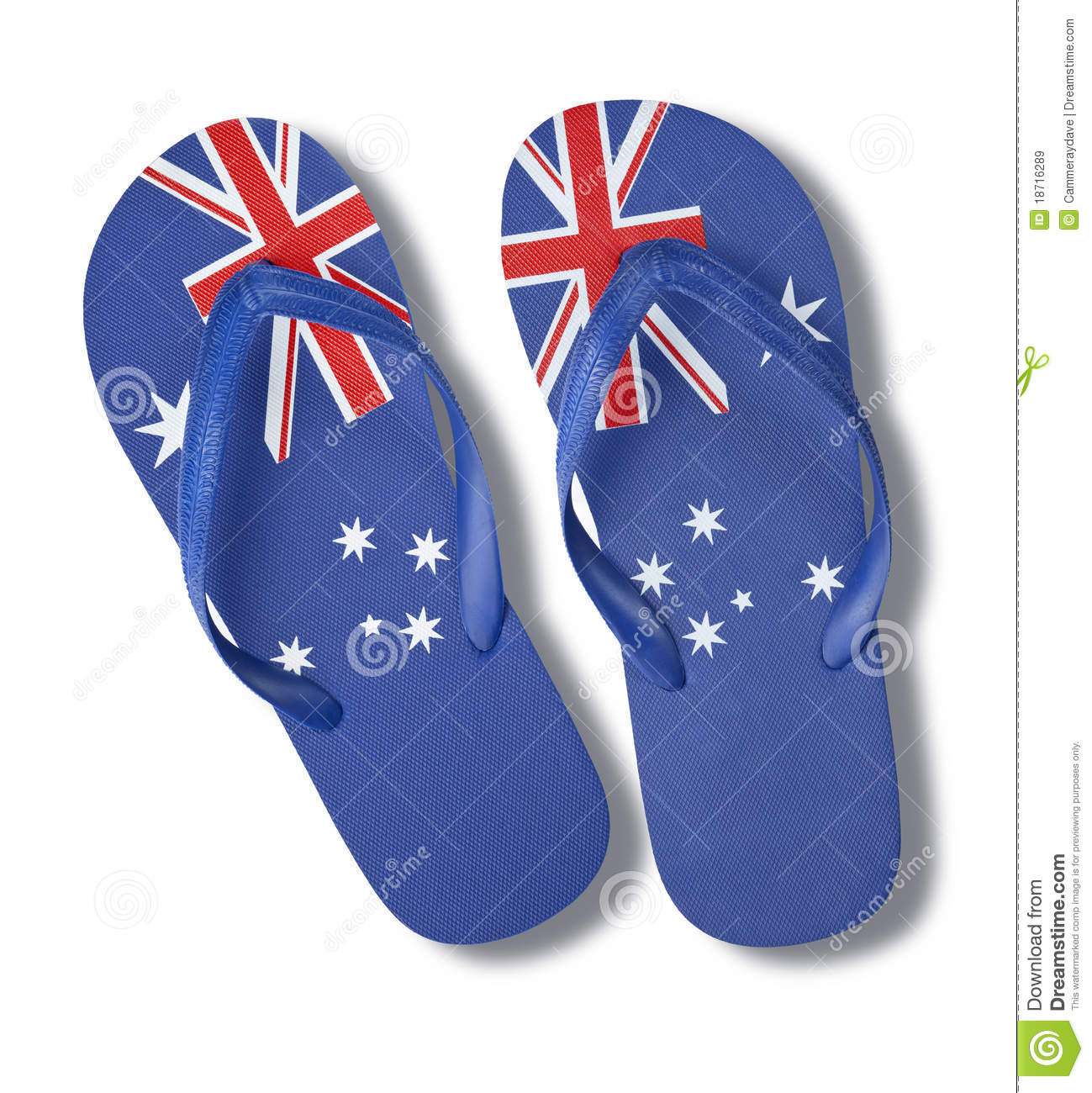 58b0181e3230 A pair of thongs or flip-flops with an australian flag pattern isolated on  white.