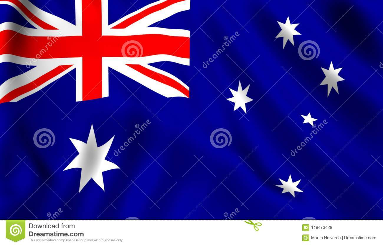 Australian Flag Waving In The Wind Symbol Of Australia Country Stock