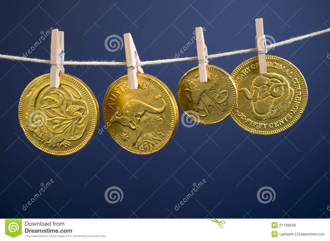 Australian Gold Coins Hanging On Line