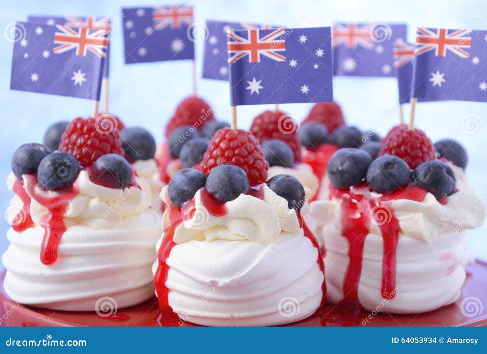 Australian mini pavlovas and flags stock photo image of for Australian food cuisine