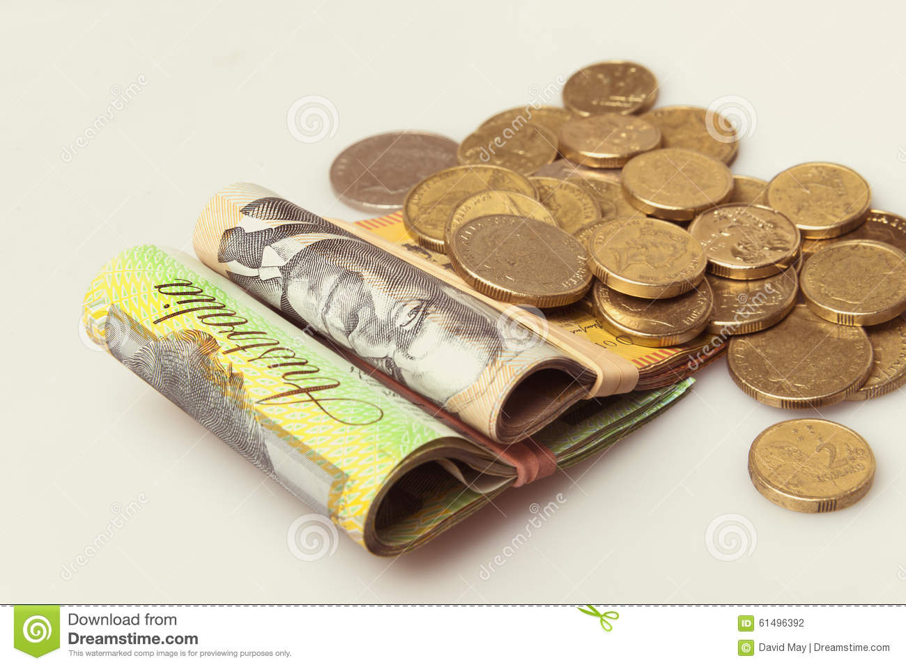Australian money folded notes and coins