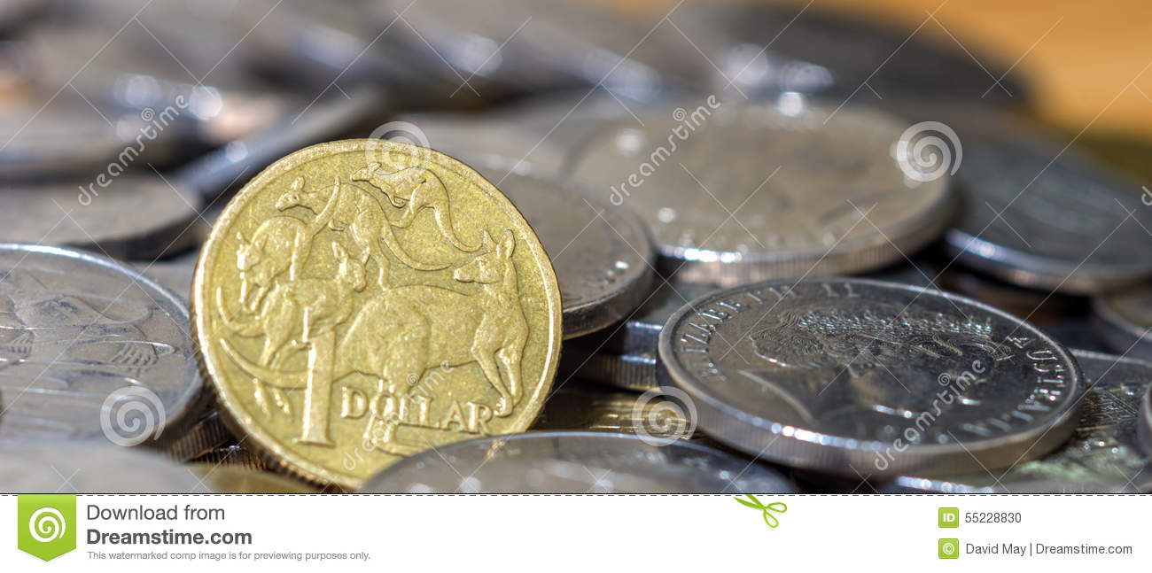 Australian One dollar close up stack coins cinematic crop