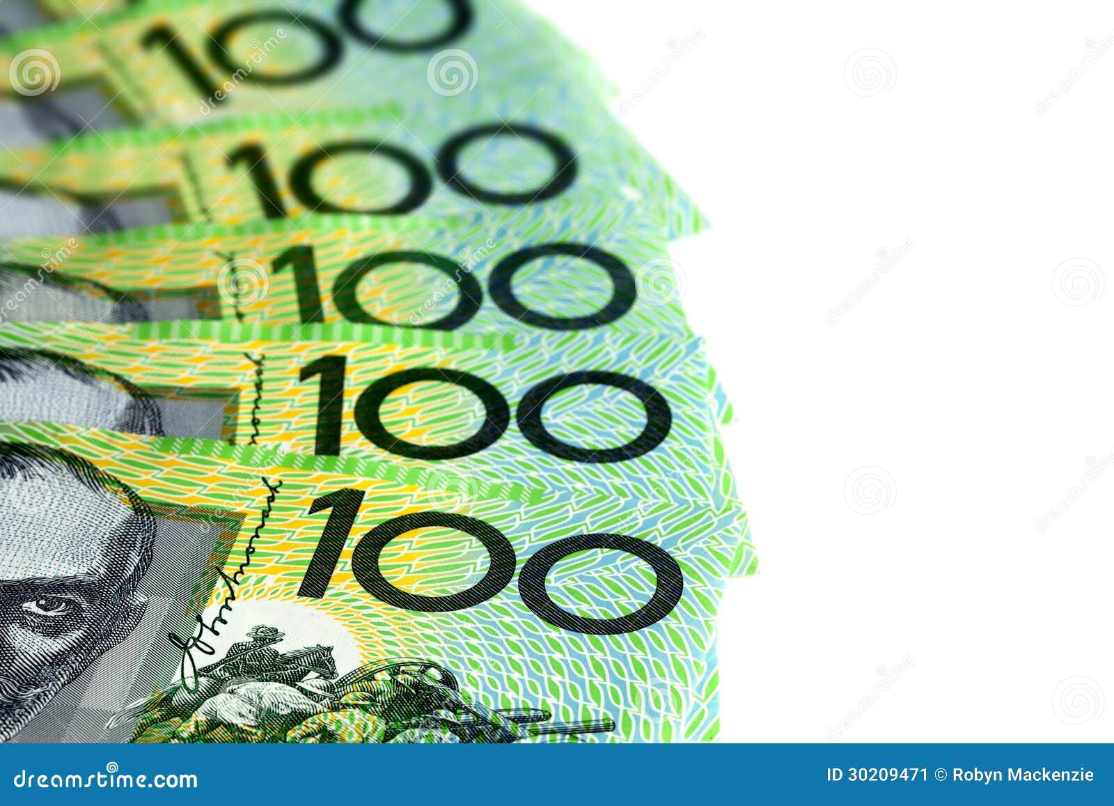Australian One Hundred Dollar Bills Over White Stock Image ...